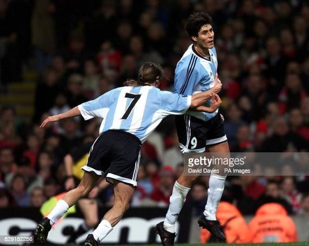 Argentina's Julio Cruz celebrates scoring thier equalising goal with Claudio Caniggia against Wales during tonights friendly international at the...