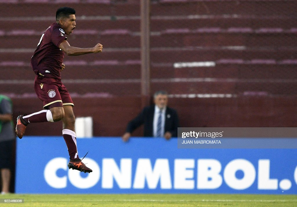 Argentina's Lanus forward Bruno Vides celebrates after scoring a goal against Peru's Sporting Cristal during the Copa Sudamericana 2018 first stage football match at 'La Fortaleza' stadium in Lanus, Buenos Aires, Argentina, on February 21, 2018. /