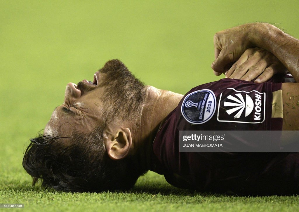 Argentina's Lanus forward Lautaro Acosta reacts after being fouled during the Copa Sudamericana 2018 first stage football match against Peru's Sporting Cristal at 'La Fortaleza' stadium in Lanus, Buenos Aires, Argentina, on February 21, 2018. /
