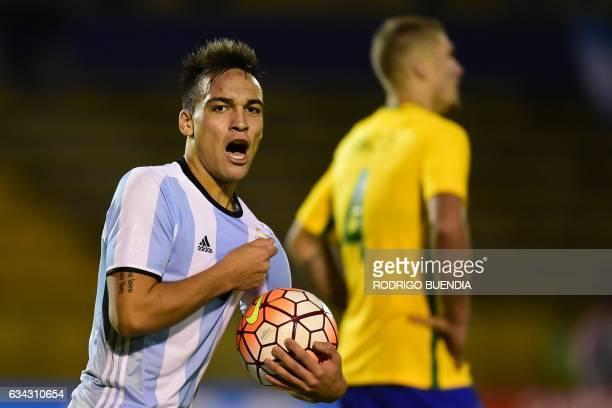 Argentina's Lautaro Martinez celebrates a goal against Brazil during a South American Championship U20 football match at the Olimpico Atahualpa...