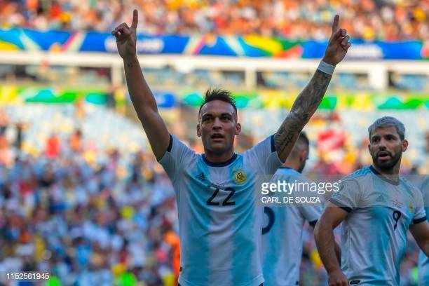 Argentina's Lautaro Martinez celebrates after scoring against Venezuela during their Copa America football tournament quarterfinal match at Maracana...