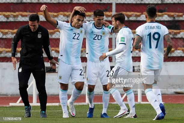 Argentina's Lautaro Martinez celebrates with teammates after scoring against Bolivia during their 2022 FIFA World Cup South American qualifier...