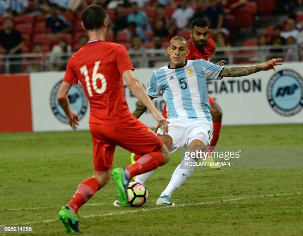 Argentina's Leandro Paredes controls the ball during the international friendly football match between Singapore and Argentina at the national...