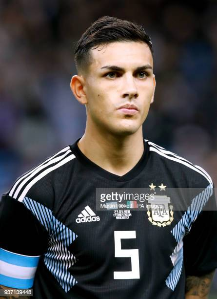 Argentina's Leandro Paredes during the international friendly match at the Etihad Stadium Manchester