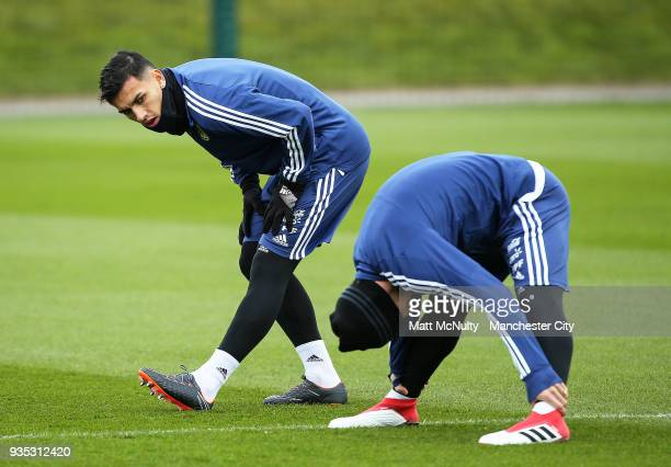 Argentina's Leandro Paredes during the training session at Manchester City Football Academy on March 20 2018 in Manchester England
