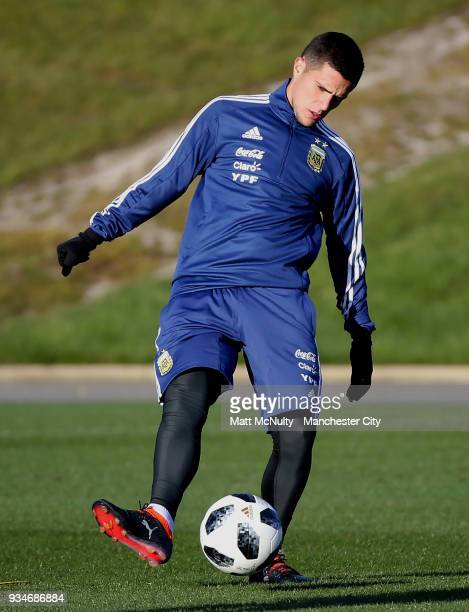 Argentina's Leandro Paredes during training at Manchester City Football Academy on March 19 2018 in Manchester England