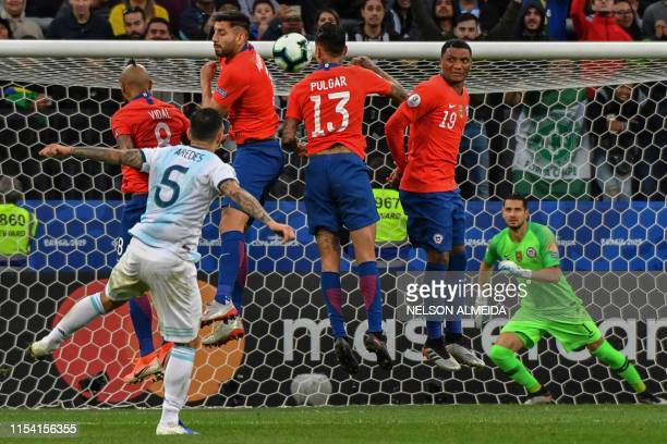 TOPSHOT Argentina's Leandro Paredes takes a freekick against Chile during their Copa America football tournament thirdplace match at the Corinthians...