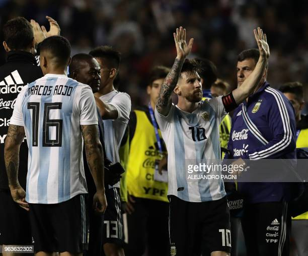 Argentina's Lionel Messi acknowledges the crowd after defeating Haiti 40 in an international friendly football match at Boca Juniors' stadium La...