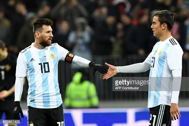 Argentina's Lionel Messi and Argentina's Paulo Dybala during an international friendly football match between Russia and Argentina at the Luzhniki...