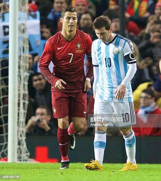 Argentina's Lionel Messi and Cristiano Ronaldo of Portugal are seen during the international friendly football match between Argentina and Portugal...