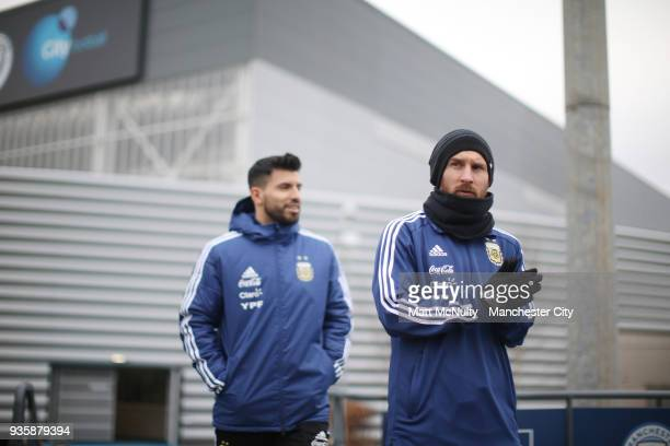 Argentina's Lionel Messi and Sergio Aguero during training at Manchester City Football Academy on March 21 2018 in Manchester England