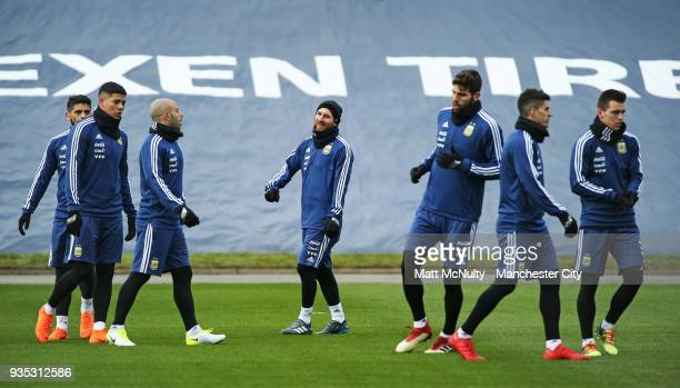 Argentina's Lionel Messi and teammates during the training session at Manchester City Football Academy on March 20 2018 in Manchester England