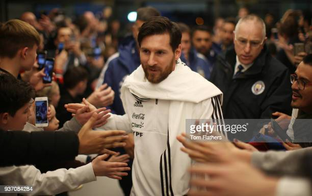 Argentina's Lionel Messi arrives at the at Etihad Stadium ahead of the on International Friendly between Argentina and Italy March 23 2018 in...