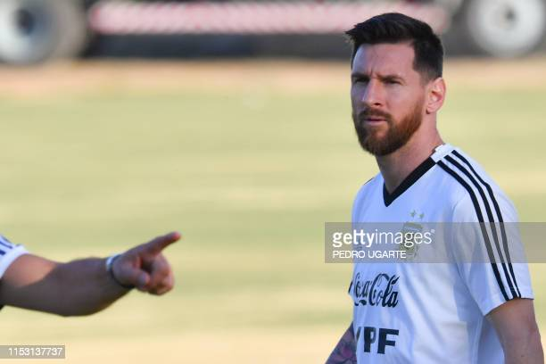 TOPSHOT Argentina's Lionel Messi attends a practice session in Belo Horizonte Brazil on July 1 on the eve of the Copa America tournament semifinal...