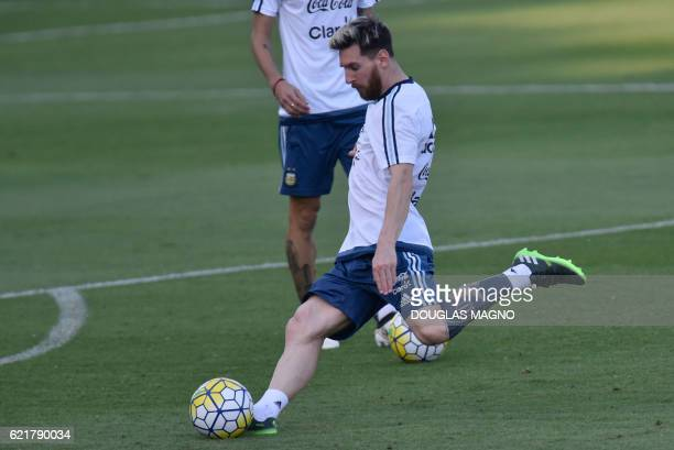 Argentina's Lionel Messi attends a training session of the national foorball team at the Atletico MG Training Centre in Vespasiano Minas Gerais...