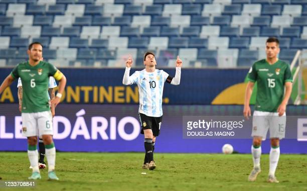 Argentina's Lionel Messi celebrates after scoring a penalty against Bolivia during the Conmebol Copa America 2021 football tournament group phase...
