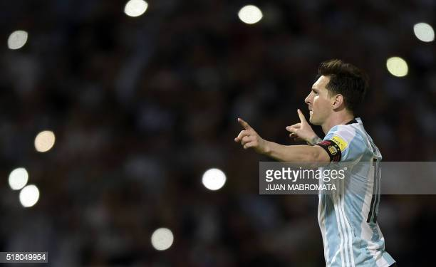TOPSHOT Argentina's Lionel Messi celebrates after scoring against Bolivia during their Russia 2018 FIFA World Cup South American Qualifiers' football...