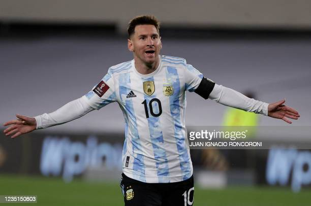 Argentina's Lionel Messi celebrates after scoring against Bolivia during the South American qualification football match for the FIFA World Cup Qatar...