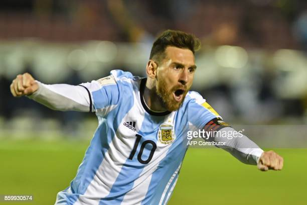 argentinas lionel messi celebrates after scoring against ecuador during their 2018 world cup qualifier football match - Ajouter Une Piece A Sa Maison