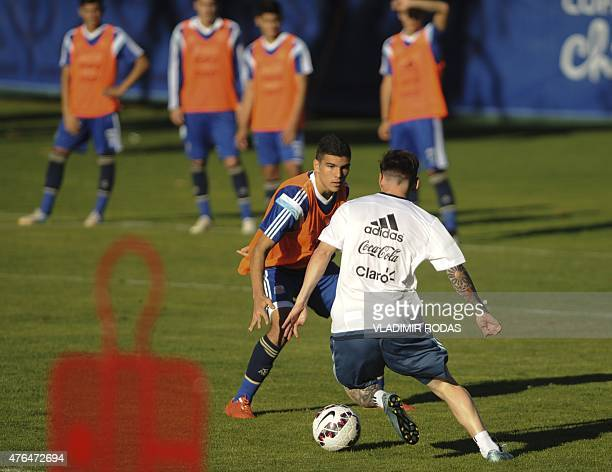 Argentina's Lionel Messi controls the ball during a training session in La Serena Chile a couple of days before the beginning of the Copa America...