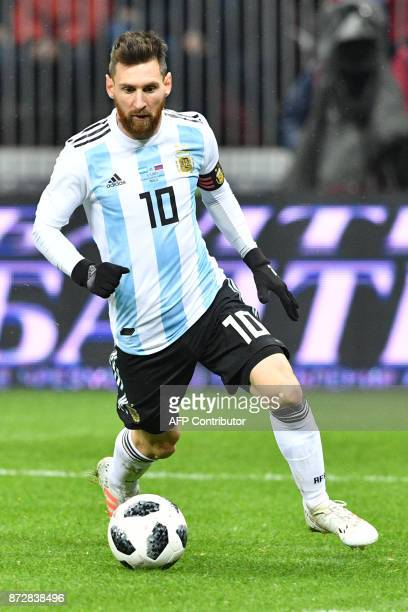 Argentina's Lionel Messi controls the ball during an international friendly football match between Russia and Argentina at the Luzhniki stadium in...