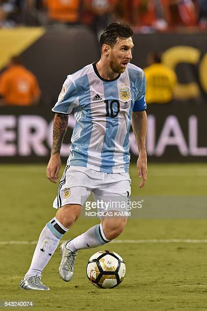 Argentina's Lionel Messi controls the ball during the Copa America Centenario final against Chile in East Rutherford New Jersey United States on June...