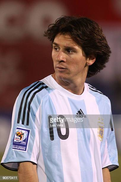 Argentina's Lionel Messi during the match against Paraguay during their 2010 FIFA World Cup qualifier at the Defensores del Chaco Stadium on...