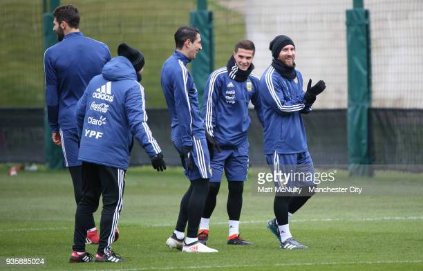 Argentina's Lionel Messi during training at Manchester City Football Academy on March 21 2018 in Manchester England