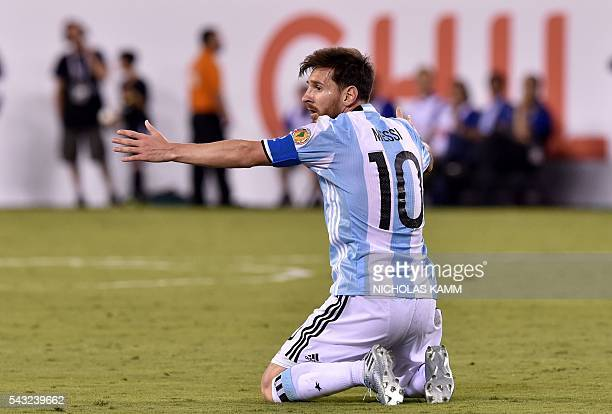 Argentina's Lionel Messi gestures during the Copa America Centenario final against Chile in East Rutherford New Jersey United States on June 26 2016...