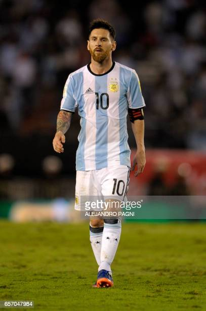 Argentina's Lionel Messi gestures during their 2018 FIFA World Cup qualifier football match against Chile at the Monumental stadium in Buenos Aires...