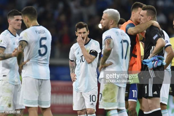 Argentina's Lionel Messi is pictured after tying 1-1 with Paraguay in their Copa America football tournament group match at the Mineirao Stadium in...