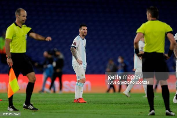 Argentina's Lionel Messi is pictured at the end of the closed-door 2022 FIFA World Cup South American qualifier football match against Paraguay at La...