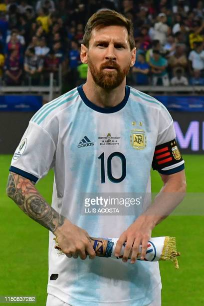 Argentina's Lionel Messi is pictured before the start of the Copa America football tournament group match against Paraguay at the Mineirao Stadium in...