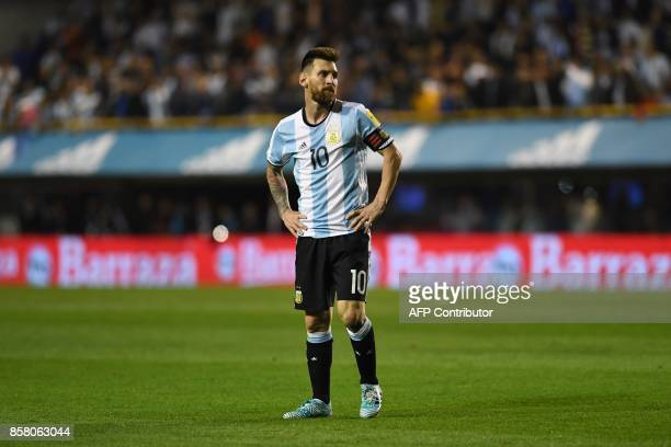 Argentina's Lionel Messi is pictured during the 2018 World Cup qualifier football match against Peru in Buenos Aires on October 5 2017 / AFP PHOTO /...