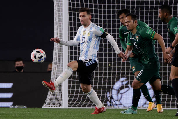 Argentina's Lionel Messi is seen during the South American qualification football match for the FIFA World Cup Qatar 2022 at the Monumental Stadium...