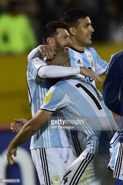 Argentina's Lionel Messi Javier Mascherano and Leandro Paredes celebrates after defeating Ecuador and qualifying to the 2018 World Cup football...