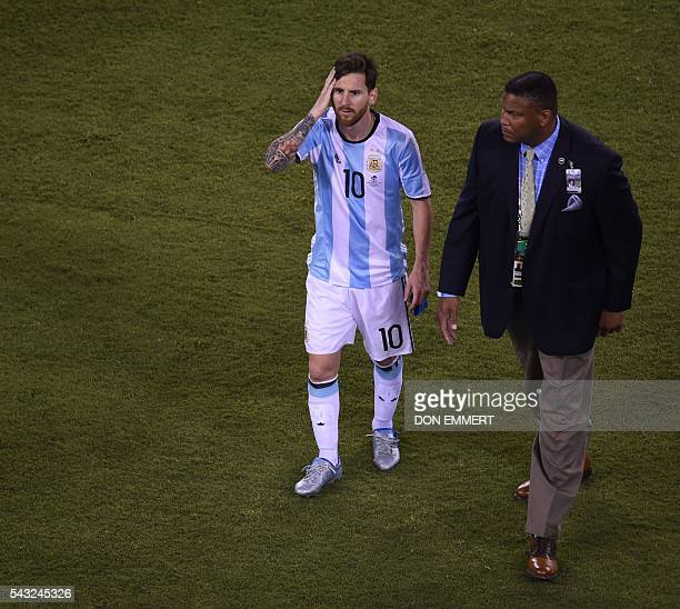 Argentina's Lionel Messi leaves the field after being defeated by Chile in the penalty shootout of the Copa America Centenario final in East...