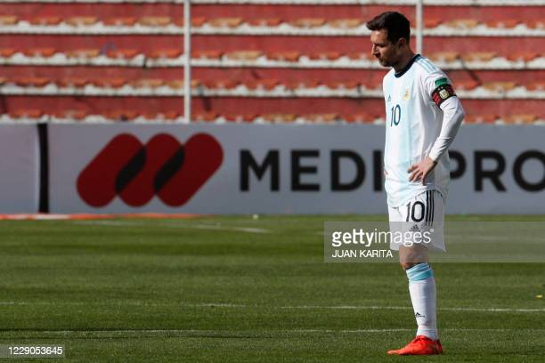 Argentina's Lionel Messi looks on during the 2022 FIFA World Cup South American qualifier football match against Bolivia at the Hernando Siles...