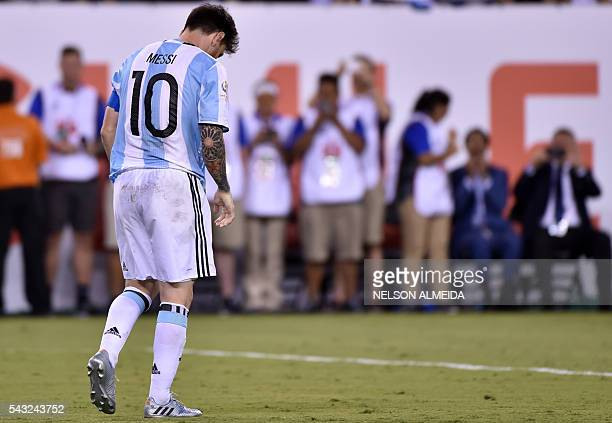 TOPSHOT Argentina's Lionel Messi shows his dejection after being defeated by Chile in the Copa America Centenario final in East Rutherford New Jersey...