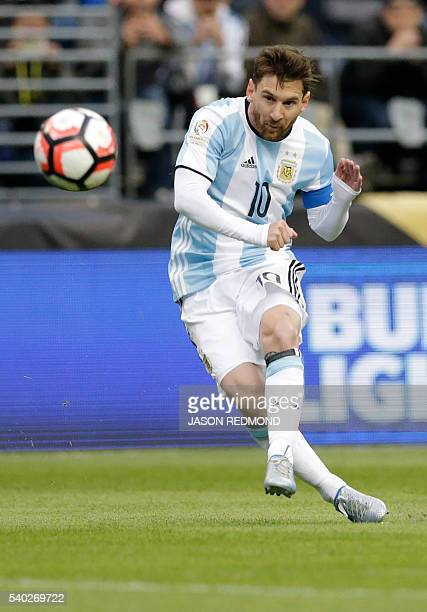Argentina's Lionel Messi takes a freekick against Bolivia during their Copa America Centenario football tournament match in Seattle Washington United...