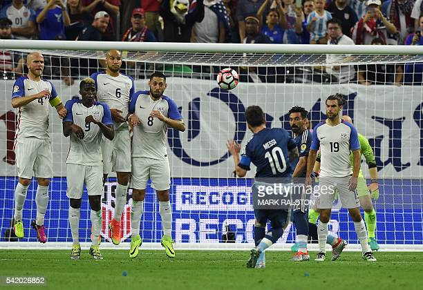 Argentina's Lionel Messi takes a freekick to score against USA during their Copa America Centenario semifinal football match in Houston Texas United...