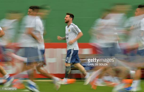Argentina's Lionel Messi takes part in a training session in Rio de Janeiro Brazil on June 27 2019 on the eve of their Copa America quarter final...