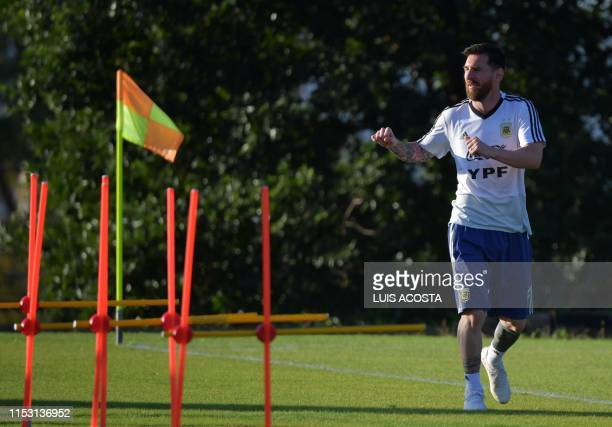 Argentina's Lionel Messi takes part in a training session of the national team in Belo Horizonte Brazil on July 1 2019 on the eve of the Copa America...