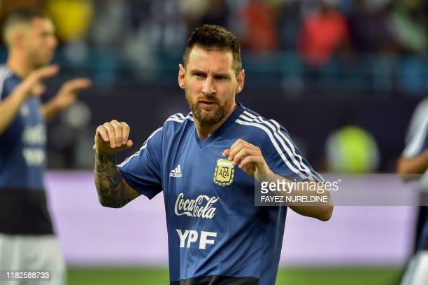 Argentina's Lionel Messi warms up ahead of the friendly football match between Brazil and Argentina at the King Saud University stadium in the Saudi...