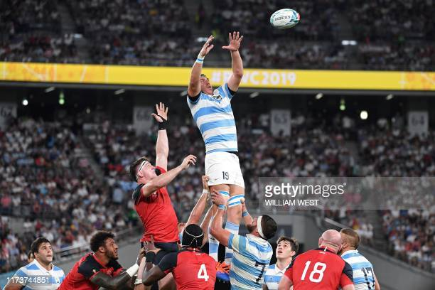Argentina's lock Matias Alemano jumps for the ball during the Japan 2019 Rugby World Cup Pool C match between England and Argentina at the Tokyo...