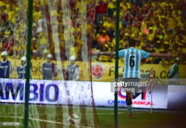 Argentina's Lucas Biglia celebrates after scoring against Colombia during their Russia 2018 FIFA World Cup South American Qualifiers football match...