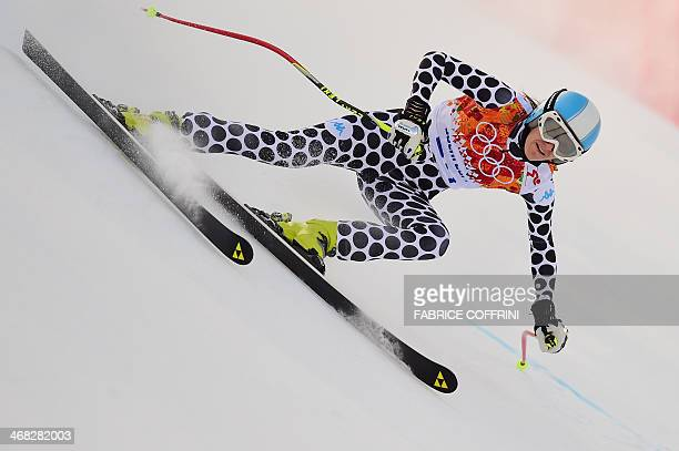 Argentina's Macarena Simari Birkner competes during the Women's Alpine Skiing Super Combined Downhill at the Rosa Khutor Alpine Center during the...