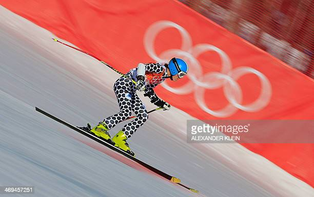 Argentina's Macarena Simari Birkner competes during the Women's Alpine Skiing SuperG at the Rosa Khutor Alpine Center during the Sochi Winter...