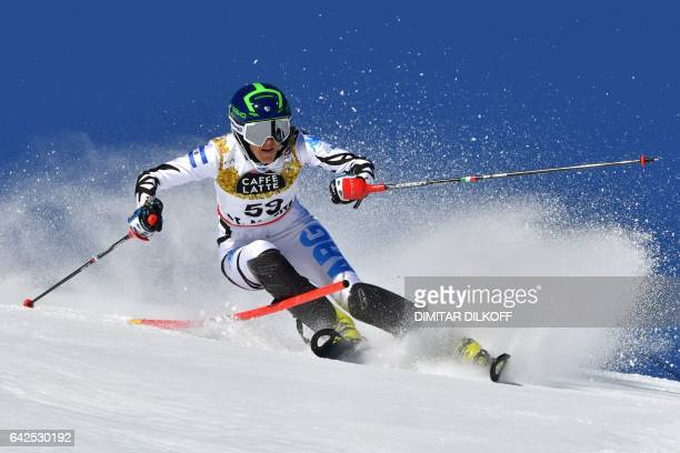 Argentina's Macarena Simari Birkner competes in the first run of the women's slalom race at the 2017 FIS Alpine World Ski Championships in St Moritz...