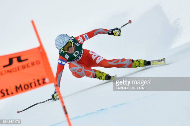 Argentina's Macarena Simari Birkner competes in the women's downhill race at the 2017 FIS Alpine World Ski Championships in St Moritz on February 12...
